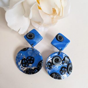 Royal blue and black funky dangly drop earrings
