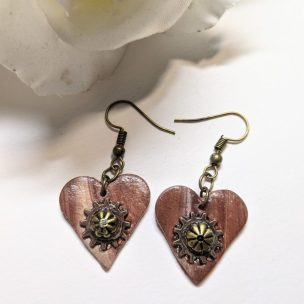 Wood effect steam punk style heart dangly earrings