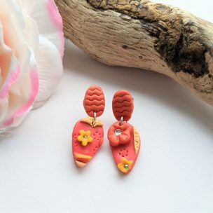 Teardrop flowers - stud dangly earrings