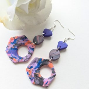 The left overs - big bold pink and purple dangly earrings