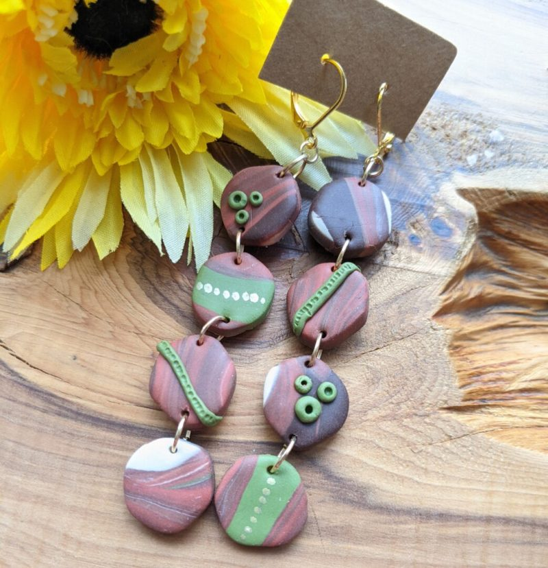 Mixed marble dangly earrings - Earth Range 4 beads various mixes or brown, grey and cream with green decorative dots and stripes