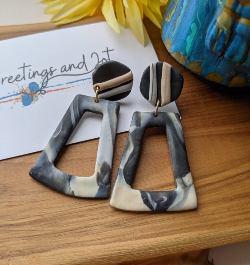 black, cream and grey marble effect trapezoid shape dangly earrings