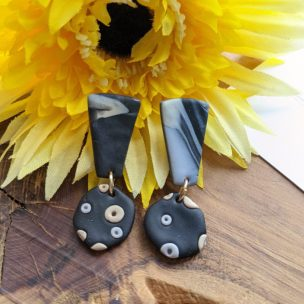 black, grey and cream exclamation mark style drop earrings