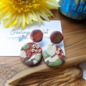 Browns, creams and greens - bold pattern clay slab round drop earrings
