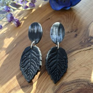 black leaf dangly earrings