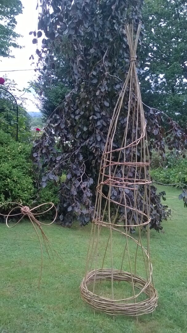 willow obelisk and dragonfly
