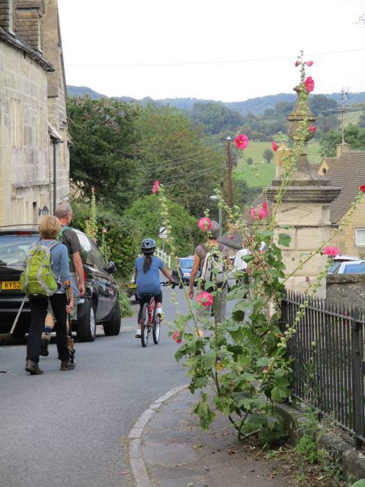We walk downhill past lots of hollyhocks