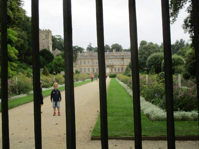 We pass the back gates to Dyrham Park