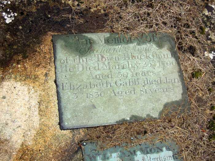 Richard Monk,blacksmith of this town, 1790 and Elizabeth Gabb