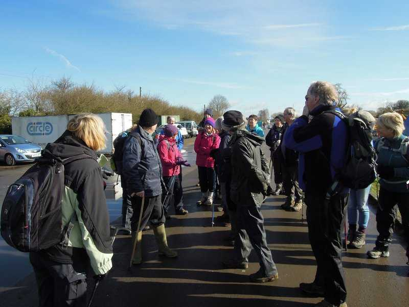 On a lovely sunny morning 32 of us are almost ready for a flat 5 mile walk led by Enid