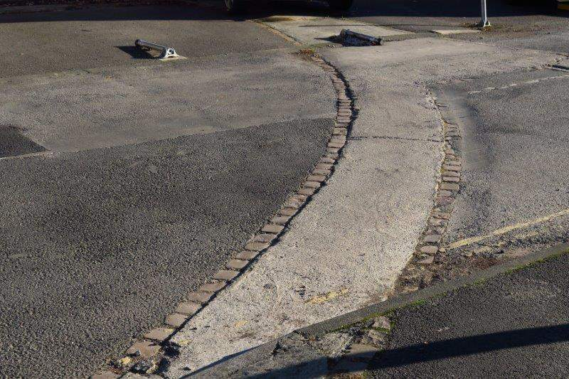 Bricks in the street marking the boundary of the Roman Forum
