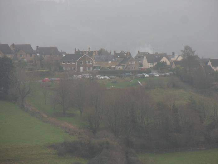 Whiteshill Village Car Park across the valley
