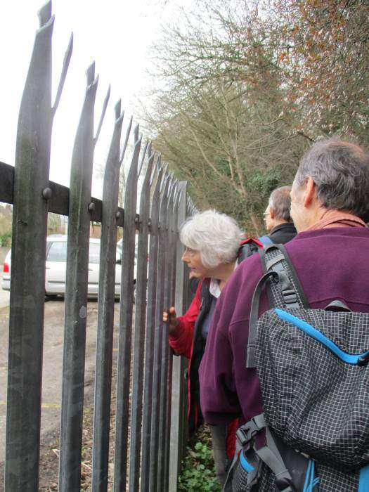 On the cycle path we line up to look through the railings