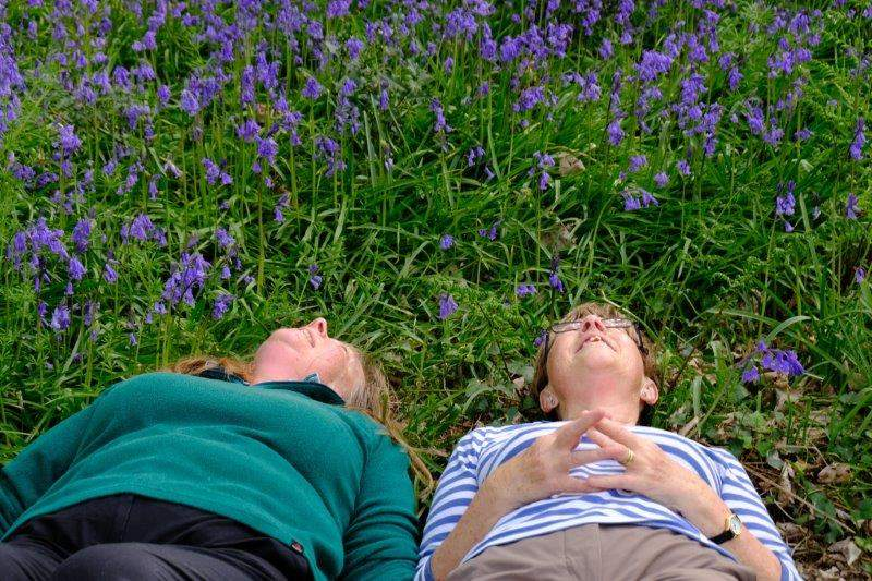 The birthday girls fulfill an ambition to lie on a carpet of bluebells  (no bluebells were killed in the making of this film)