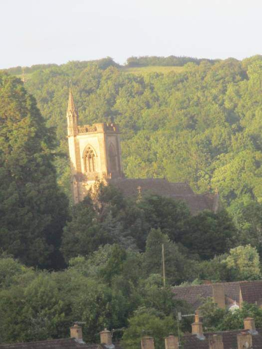 Uley church tower catches the sun