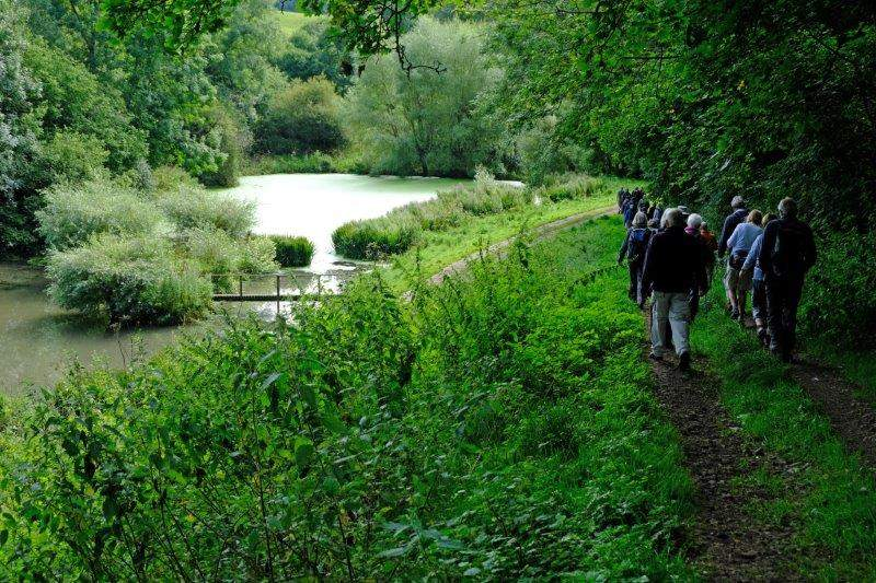 Then a footpath past a secluded pond