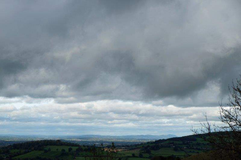 To Selsley Common where we have views up the valley to the Malverns