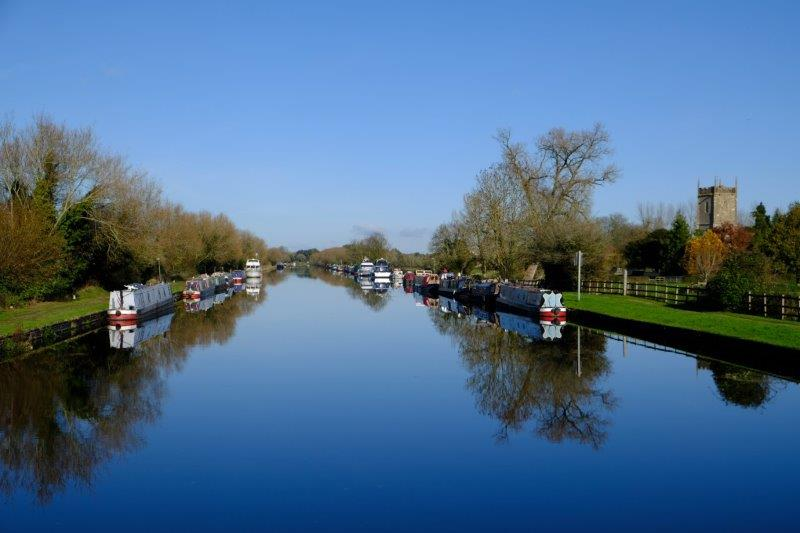 And look up the canal with Frampton Church to one side