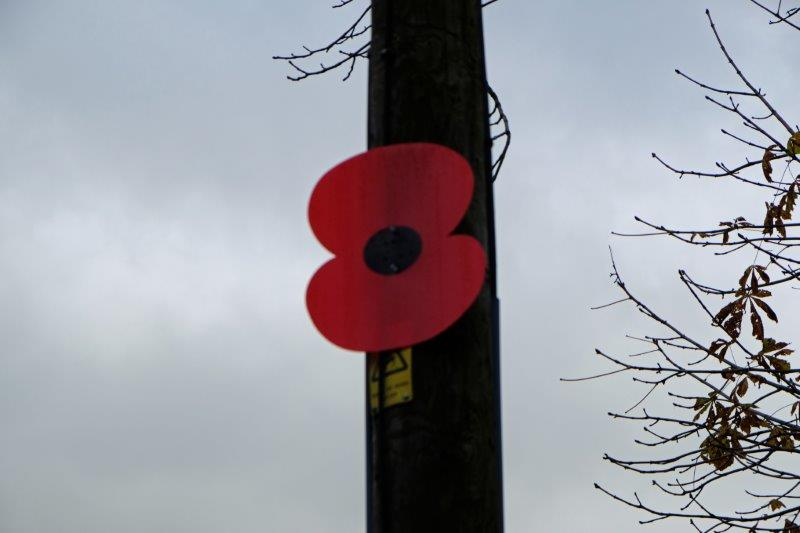 Into South Cerney where preparations for Armistice Day are in place