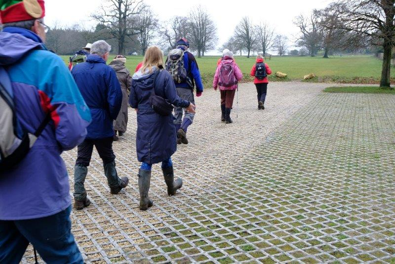 Continuing, we walk on a special surface installed to protect the Common