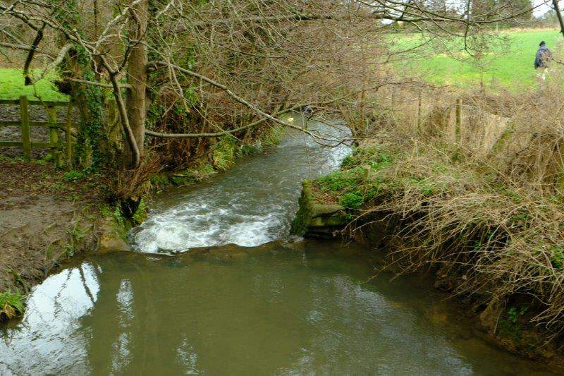 The stream in full spate thanks to recent rain