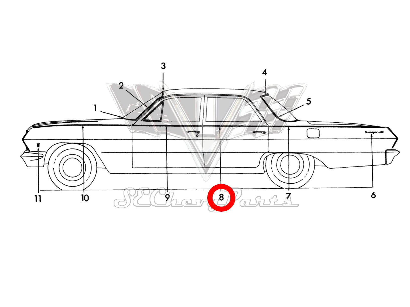 Chevy 4 Door Biscayne Nos Rear Door Molding
