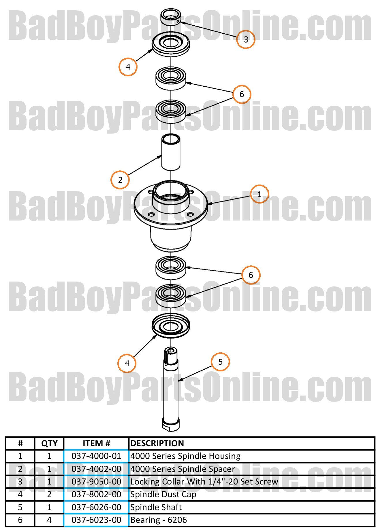Outlaw Xp Double Bearing Spindle Parts And Schematic