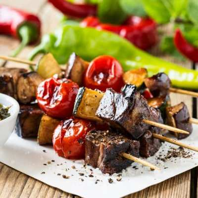 Grilled Vegetable Beef Kabobs