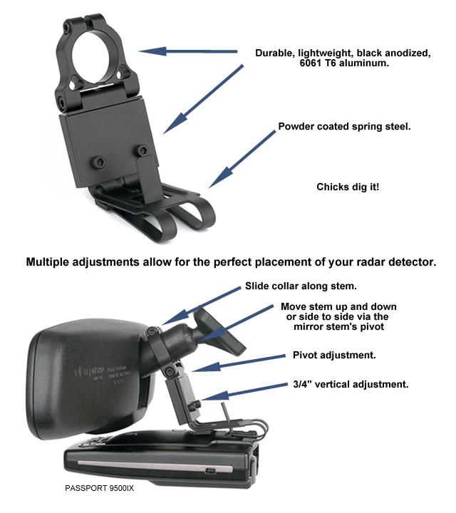 BlendMount Challenger Radar Detector Mount Dodge
