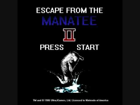 """Title screen for """"Escape from the Manatee II"""", a thing that happened (at least twice) in the eighties."""