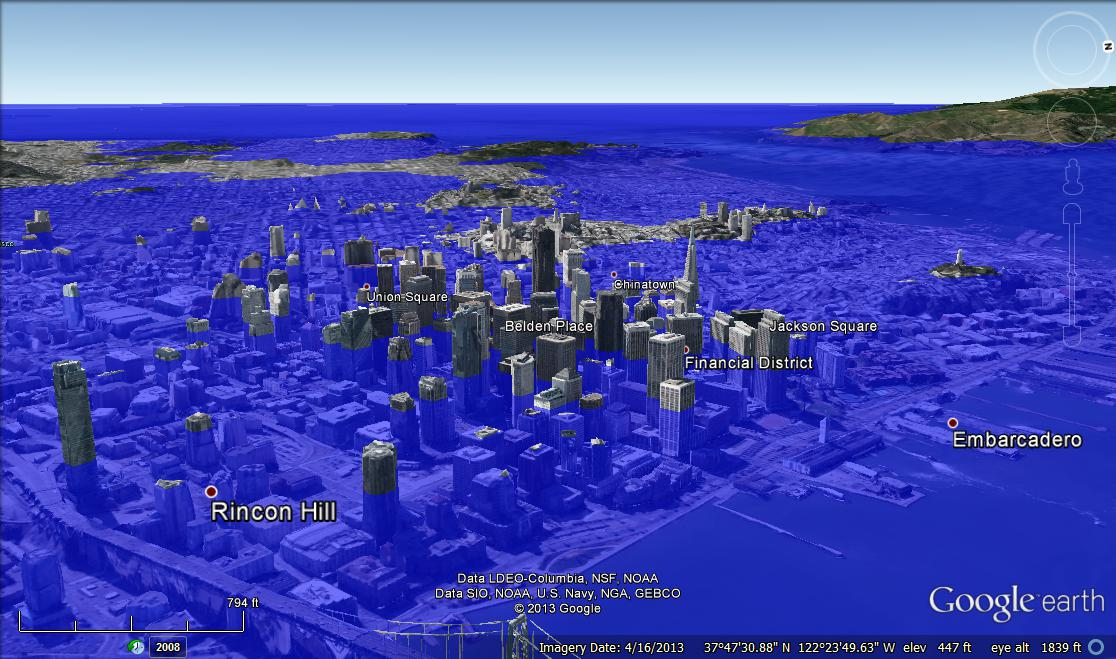 Science in the fleet what would your hometown look like with 80 san francisco 80 meters gumiabroncs Gallery