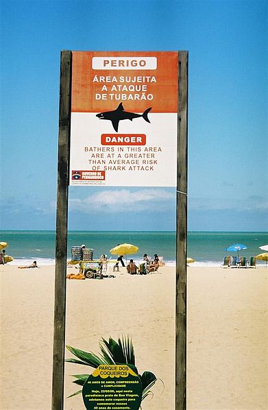 Sign warning of shark attacks at Boa Viagem Beach in Recife, Brazil. Nicholas Bittencourt, WikiMedia Commons