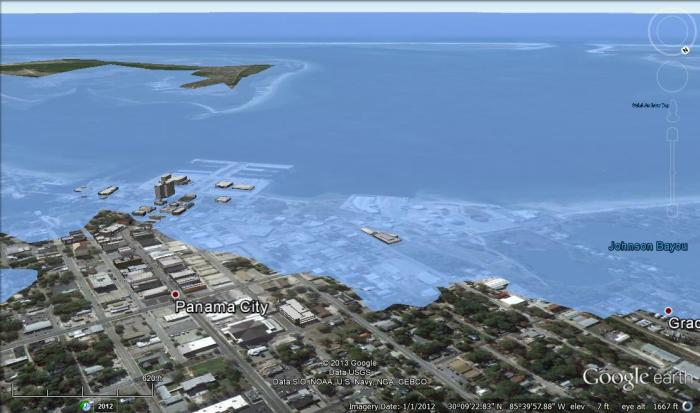 Panama City, FL after 5 meters of sea level rise.