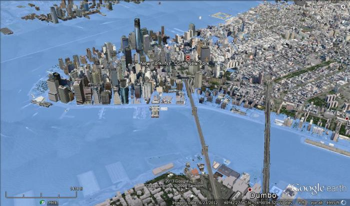 New York City, NY after 5 meters of sea level rise.
