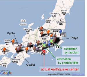 Figure 9 from Sakaki et al. 2010, showing how close the actual earthquake center (red X) is to what was estimated by tweets (green crosses)