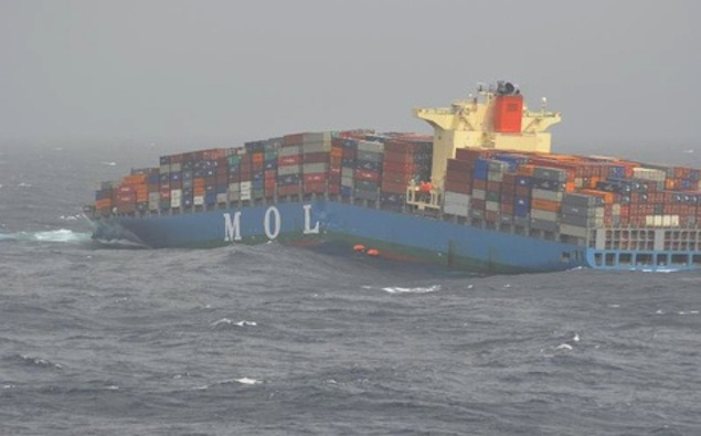 The MOL Comfort breaks its back. Image via gCaptain.