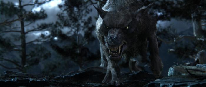 A wild warg makes critical carrion for eager eagles. Screen capture from The Hobbit.