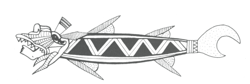Early rival to the Jaws movie poster: Native Latin American depiction of a shark with a human foot sticking out of its mouth. Note the correct number of fins, tail shape and triangular teeth (from Seler, 1902)