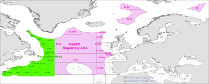 Map of NAFO & NEAFC Regulatory Areas. Source: European Fisheries Control Agency