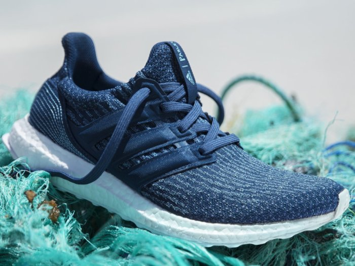 The UltraBoost sneaker from Adidas' Parley ocean plastic collection.