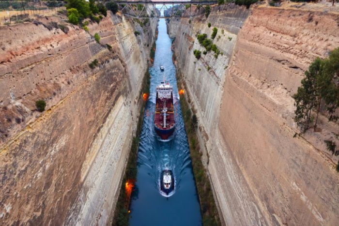 A ship transits the Corinth Canal in Greece. Archive photo: By Oleg Znamenskiy