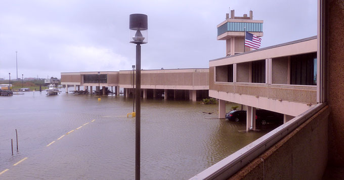 LUMCON's DeFelice Marine Center, flooded, as seen from a dormitory balcony. (Photo: Courtesy of LUMCON)
