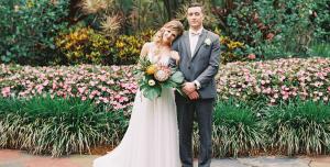 Romantic tropical wedding at Sunken Gardens in St Pete, FL