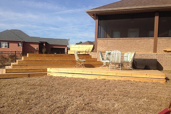 wood decks concrete slabs patio