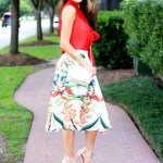 Chicwish Tropical Print Midi Skirt with Rust Colored Blouse