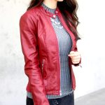leather jacket with a sweater