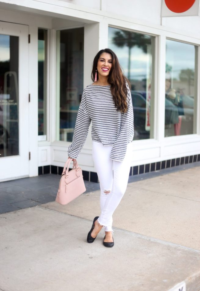 Stripe Slouchy Pullover