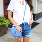 White Lace Up Tee and Ripped Denim Jeans