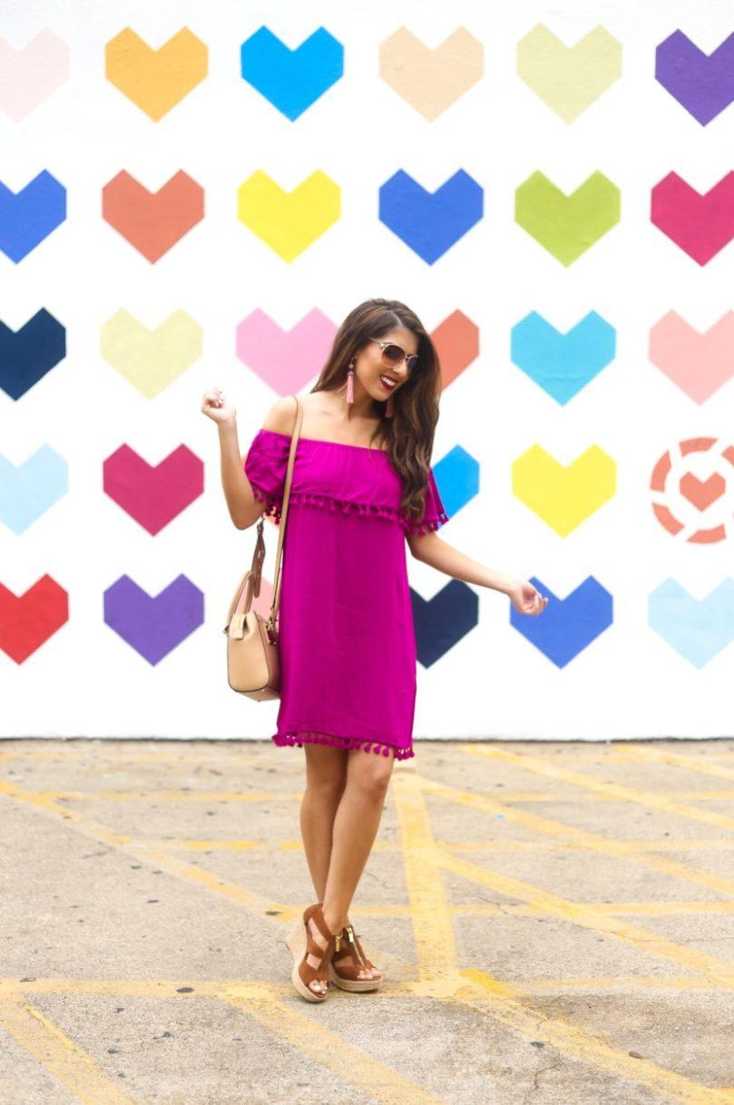 Berry Off the Shoulder Dress