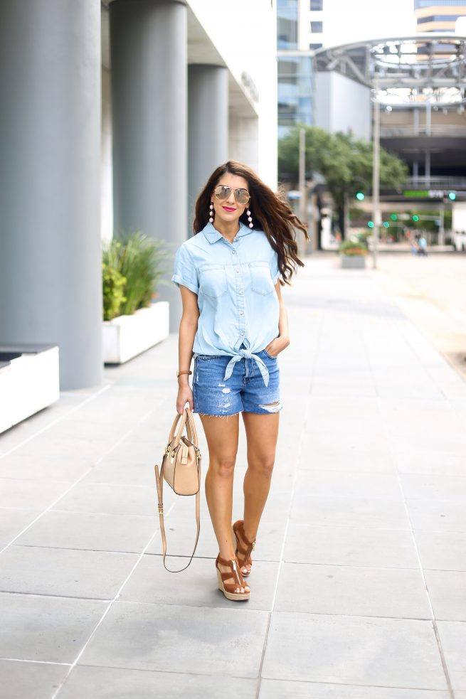 Denim Button Down Top with Ripped Denim Shorts